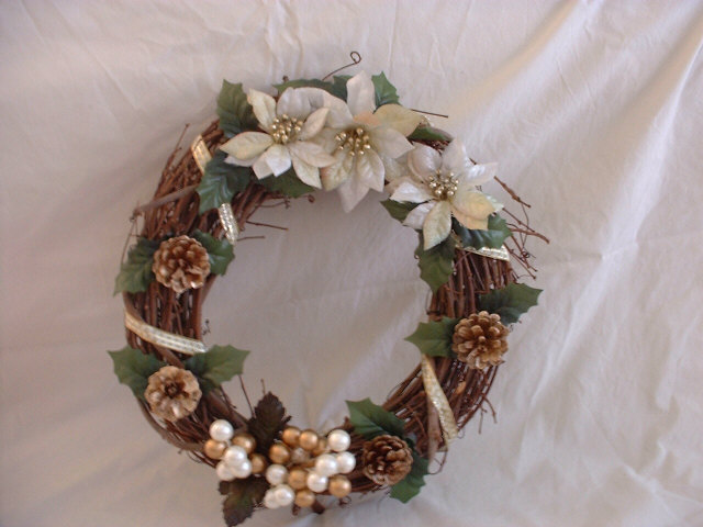 white flower wreath